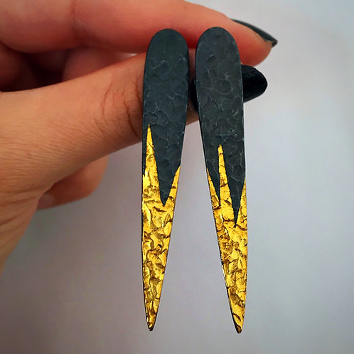 Gilded Spike Earrings | 24 karat Gold + Blackened Sterling Silver