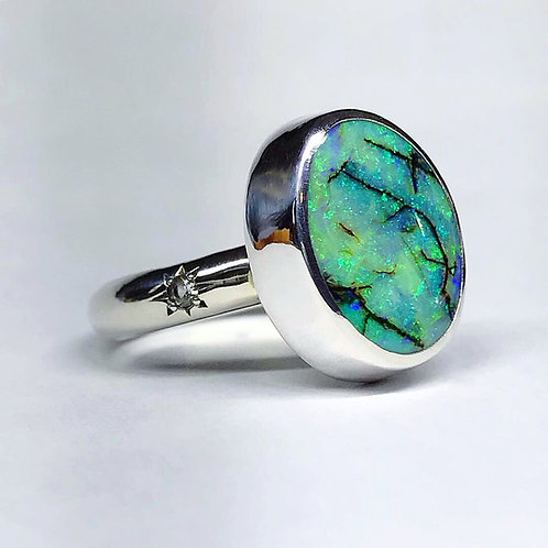 Spring Stargazer Ring with Opal & White Topaz | Size 8.5
