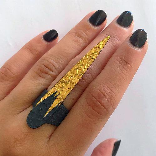 Gilded Spike Ring | 24 karat Gold + Blackened Sterling Silver | Size 7