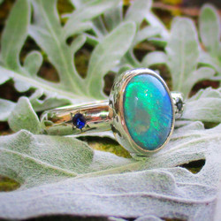 Opal and Sapphire Stargazer Ring
