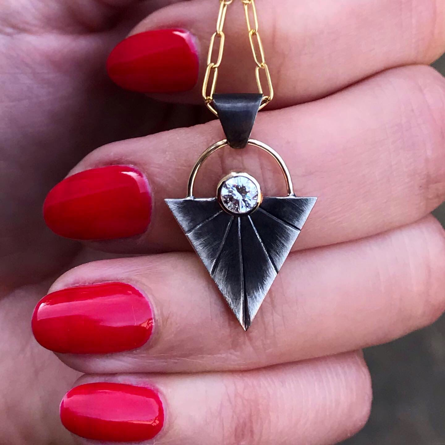 Heirloom Diamond Mixed Metals Pendant by Black Fawn Jewelry
