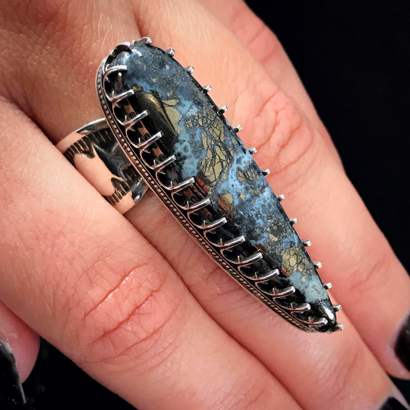 Nipomo Marcasite and sterling silver ring