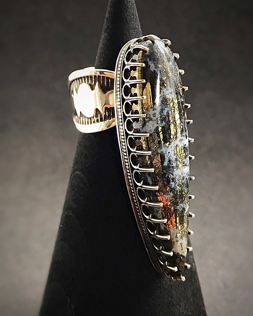 Nipomo Marcasite in Agate Dagger Ring | Size 7 FIT