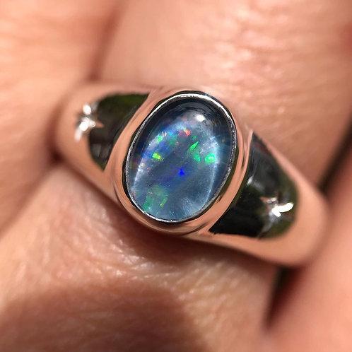 Opal Stargazer Signet   Size 7