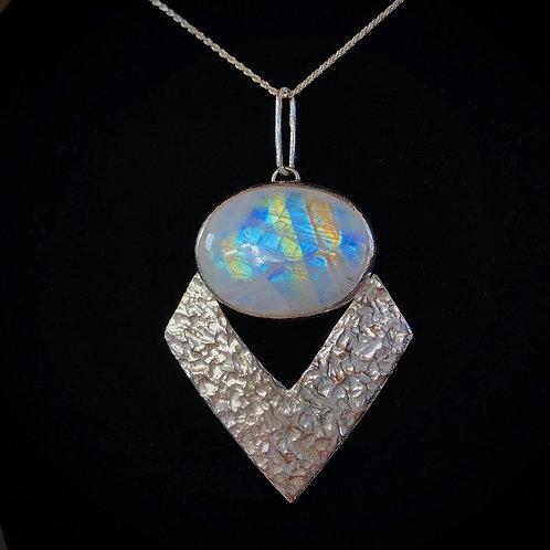 Moon Goddess   Rainbow Moonstone Statement Necklace