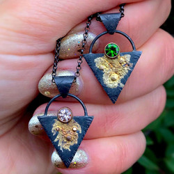 Black and Gold pendants by Black Fawn Je