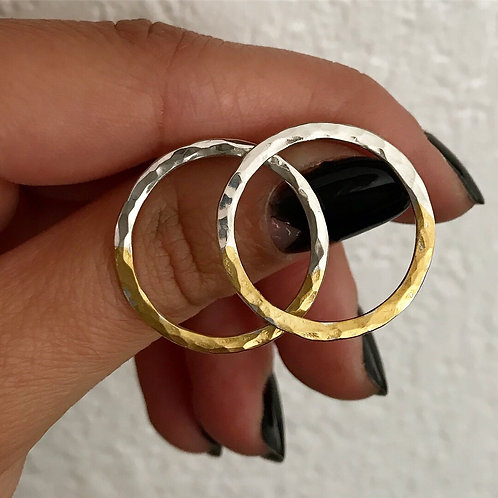 Rising Sun Hoops | 24 karat Gold + Sterling Silver