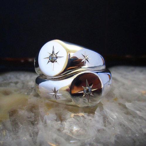 Salt & Pepper Diamond Orion Signet   Size: 5.5, 7.25, 8.5-8.75
