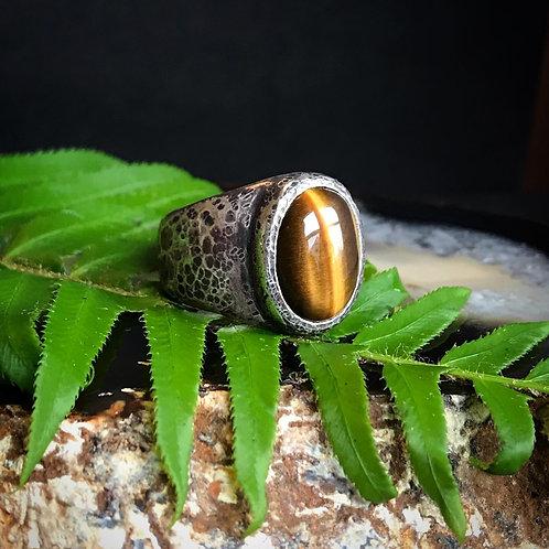 Large Signet Ring   Tiger's Eye   Snakeskin Finish   Size 10.25