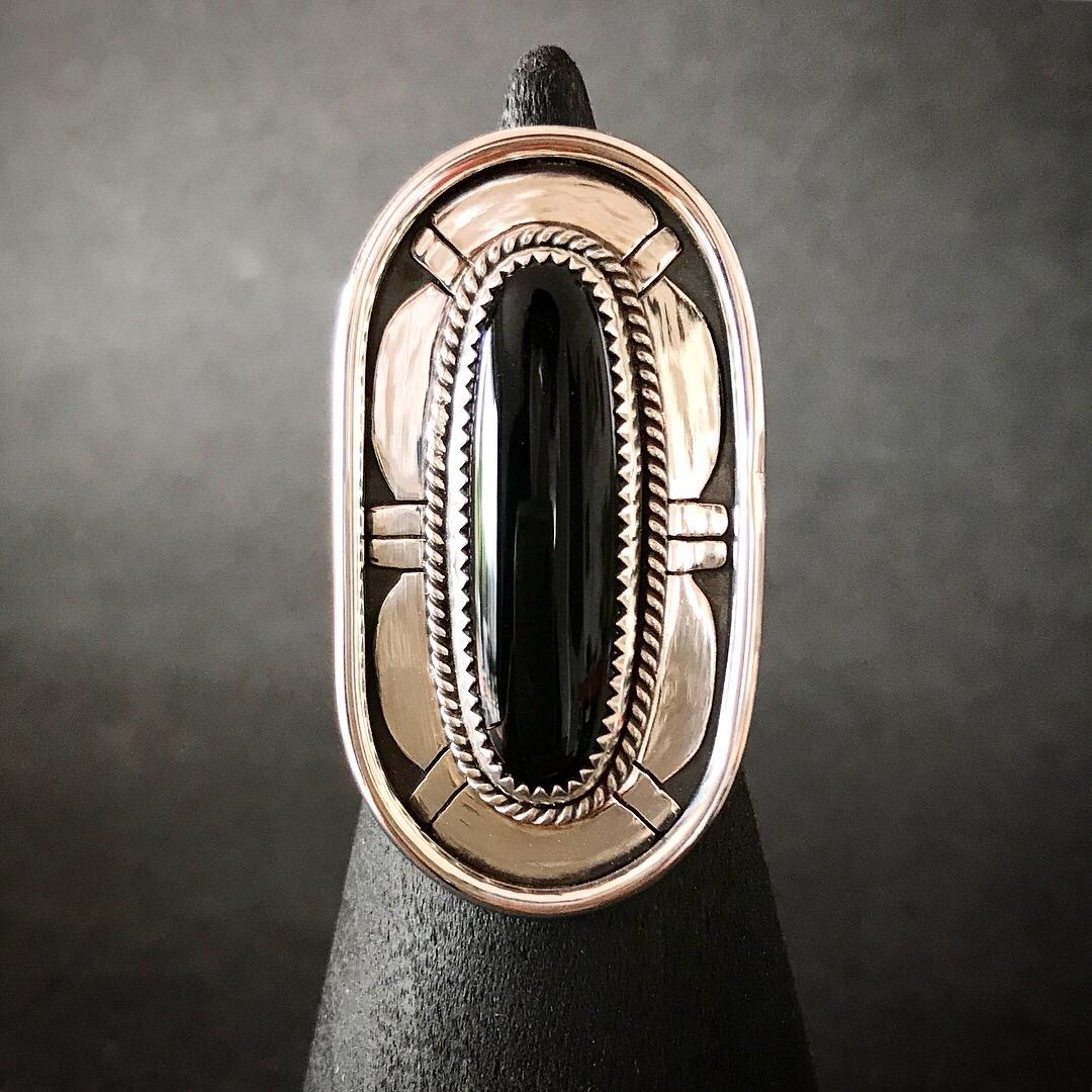 Black Onyx Overlay Ring