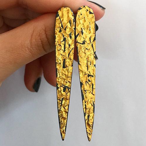 Golden Spike Earrings | 24 karat Gold + Blackened Sterling Silver