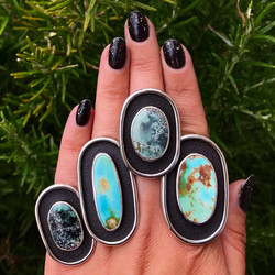 Turquoise Textured Shadowbox Rings