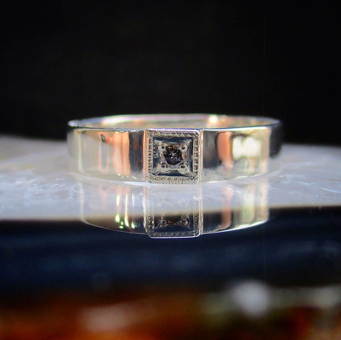 Salt & Pepper Diamond Box Set Signet Ring | Size 7