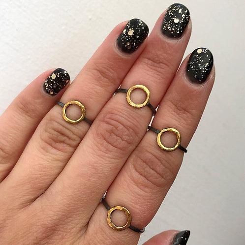 Little Sun Ring | 24 karat Gold + Blackened Sterling Silver | Size: 3.5