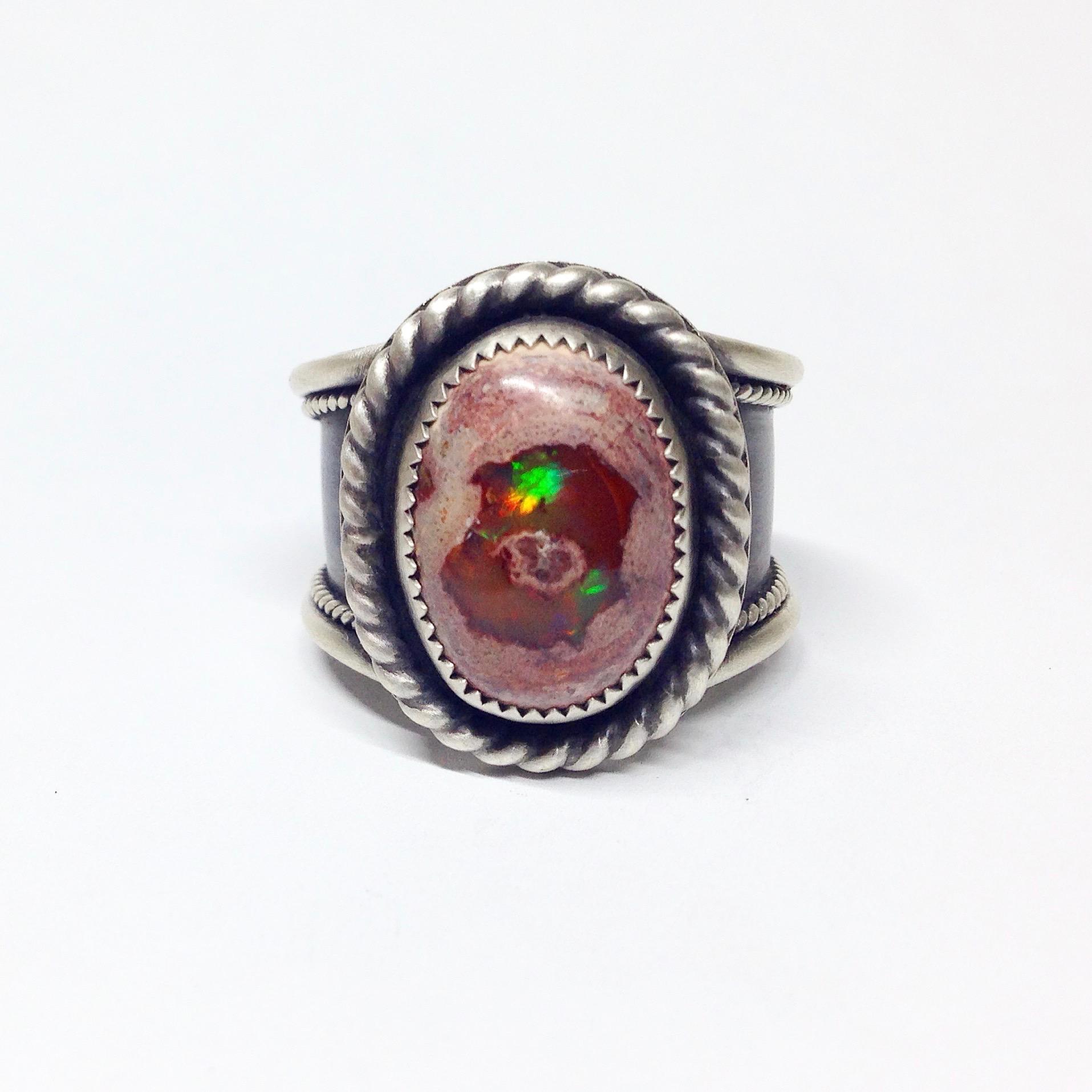 Mexican Boulder Opal Mens Ring