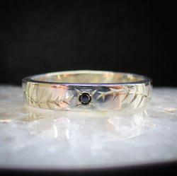 Black Diamond Engraved Fern Ring