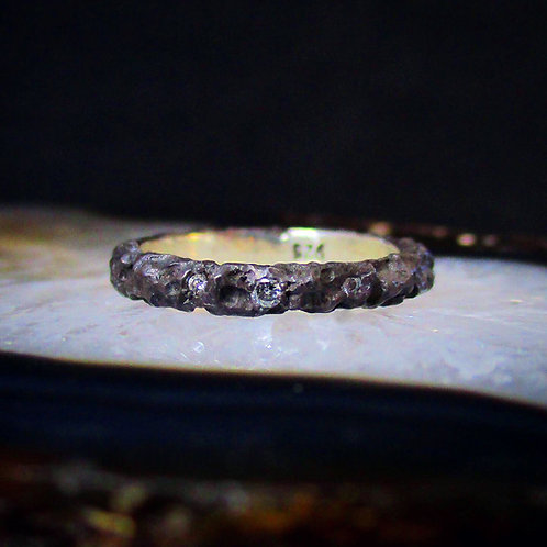 Triple Salt & Pepper Diamond Hand Carved Band | Size 6.75 | OOAK