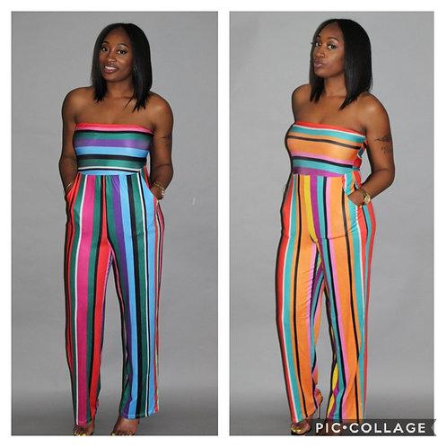 Color Stripe Jumpsuit