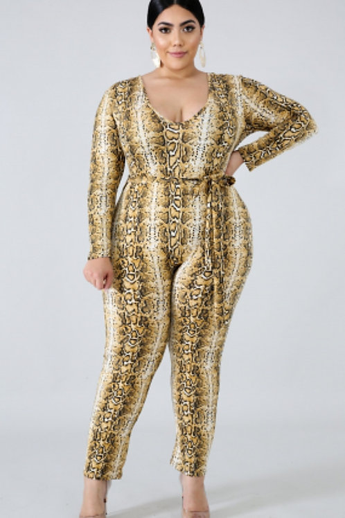 Snake Print Fitted Jumpsuit