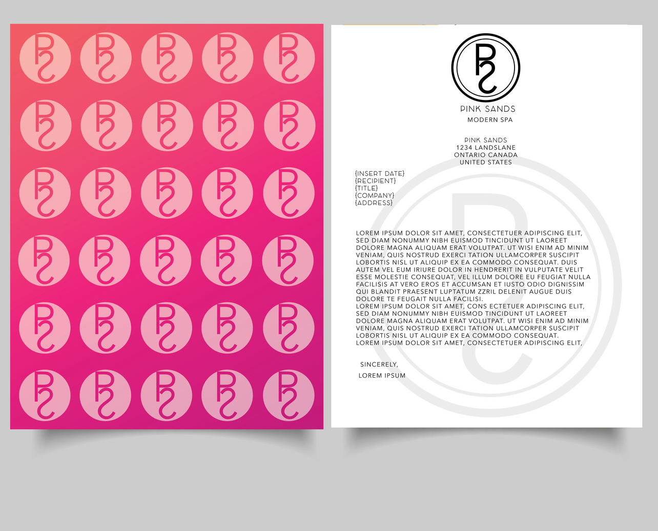 Pink Sands LetterHead Front and Back