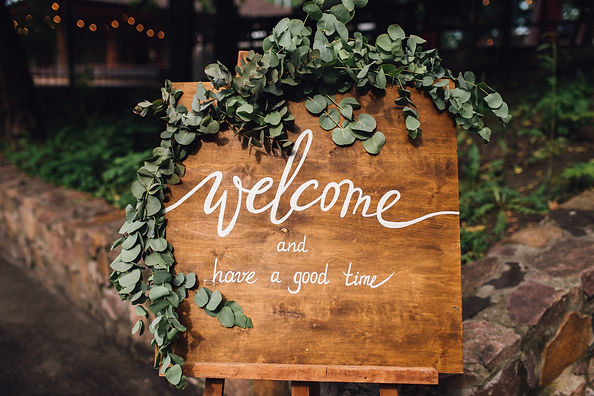 Handmade wooden board with welcome sign