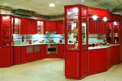 big red kitchen design