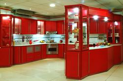 big red kitchen design