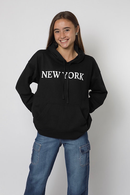 Polerón canguro negro New York