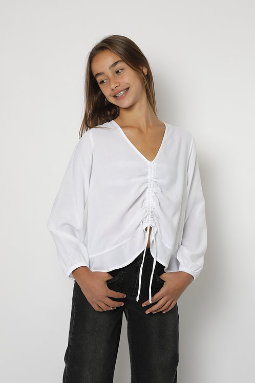 Blusa blanca recogido