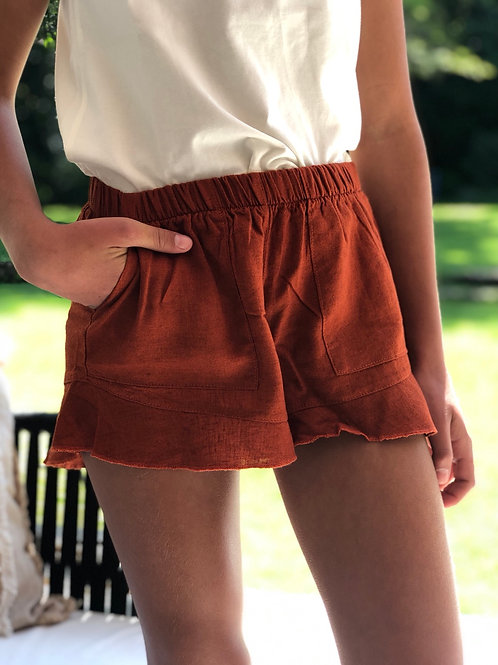 Short de lino terracota