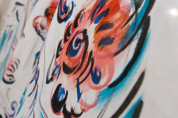 Фрагмент одного из занавесов выставки