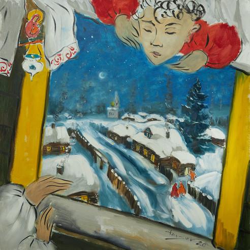 Winter in the village. 2020
