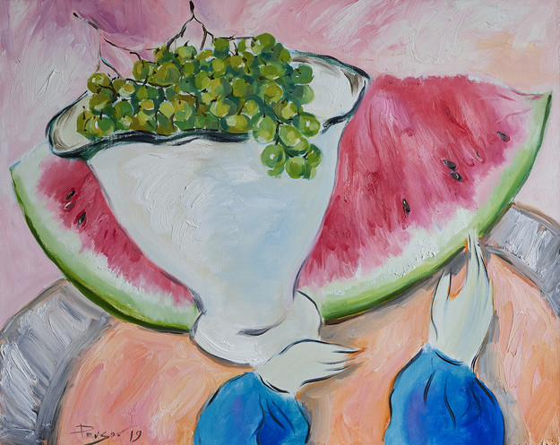 Watermelon and grapes in a vase. 2019