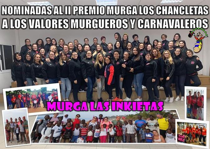 """Murga Las Inkietas, nominadas al """"II Premio Murga Los Chancletas"""""""