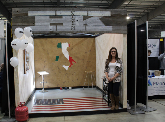 Completed Italian & American style Booth. Venetian Plaster walls with Epoxy Flooring