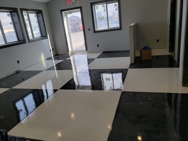 After Picture | Epoxy Flooring | Epoxy Applications | Black Floor | White Floor | Chess Floor | Black & White Chess | Office Floor | Centsible Auto