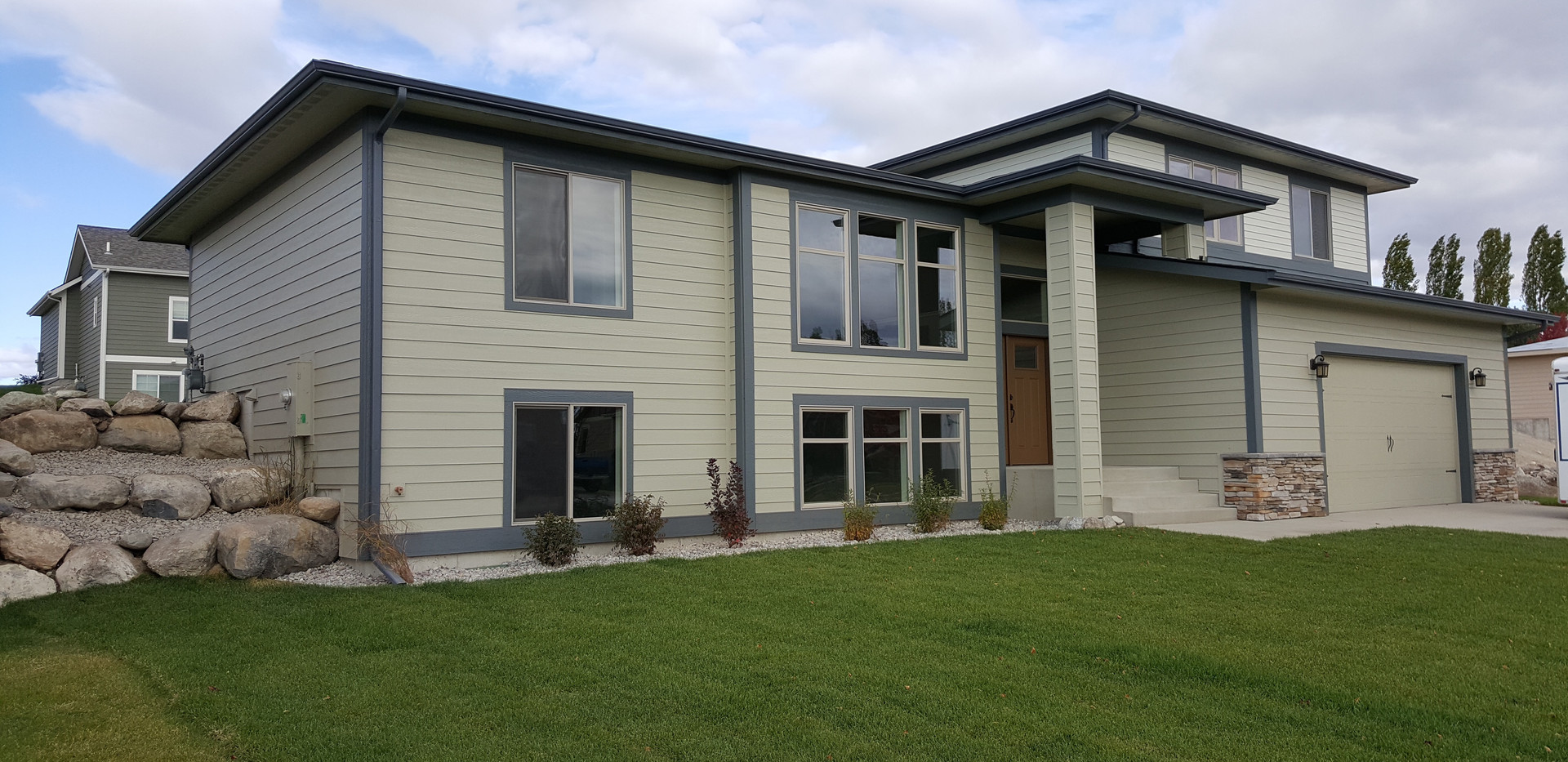 Exterior Painting of Contemporary home in Kalispell, MT