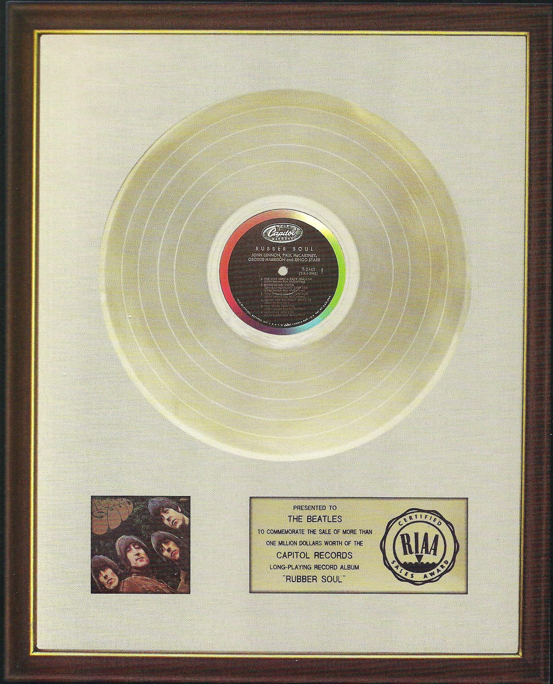 Rubber Soul gold record