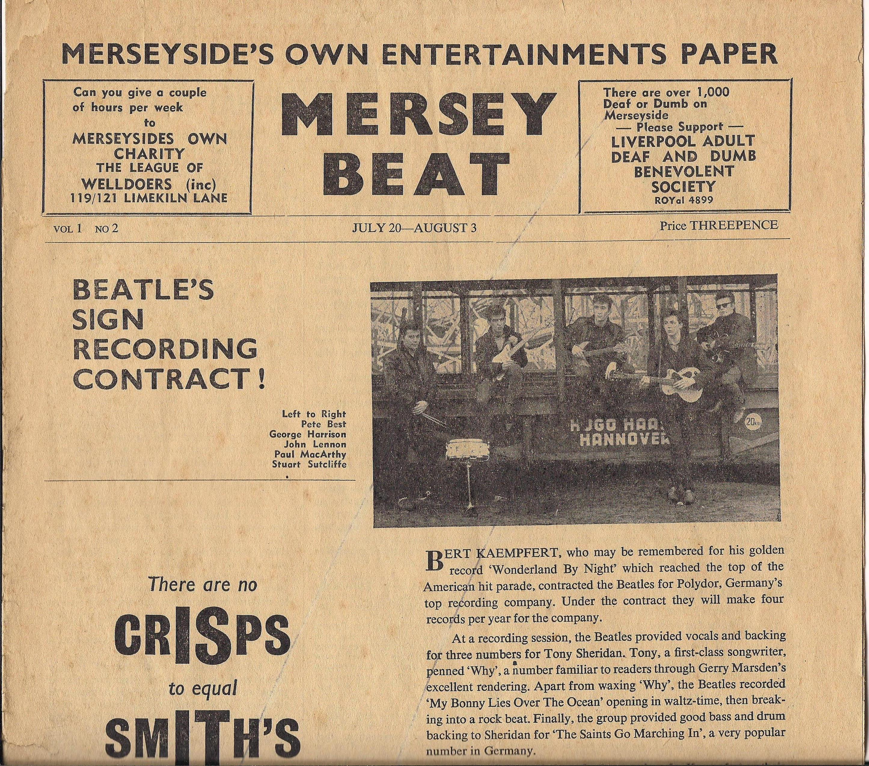 Mersey Beat #2 - Beatles Polydor cover Mersey Beat Vol. 1 No. 2  July 20-Aug. 3, 1961  1