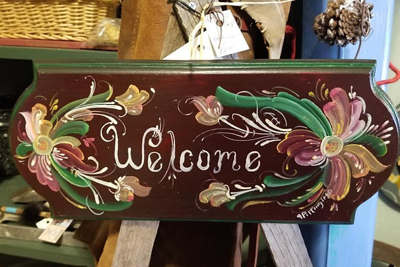 Dark Red Welcome Sign