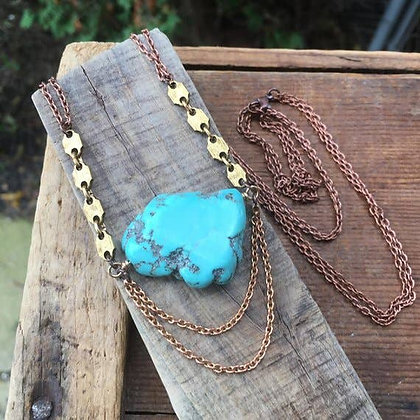 Turquoise Magnasite & Hexagon Necklace