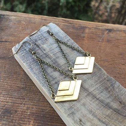 Brass Chevron Dangles