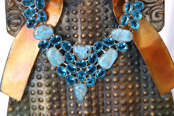 Beautiful Layered Blue Topaz & Crystal Necklace