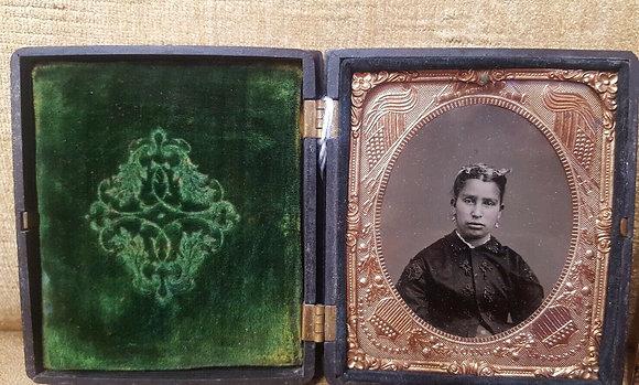 Tintype Photo in Case - Native American Woman w/ Green Velvet