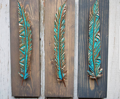 Rich Oxidation Copper Feather on Wood