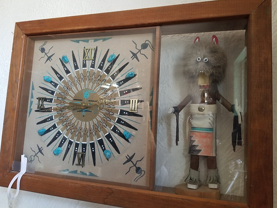 Sand Painting Clock with Kachina Doll