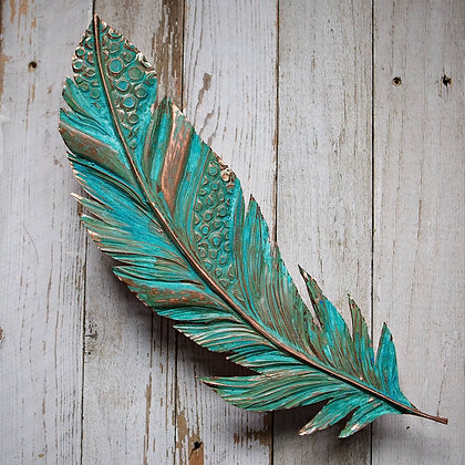 Giant Copper Feather - Green