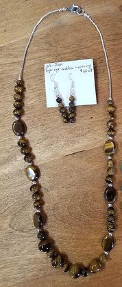 Tiger Eye Necklace & Earrings Set