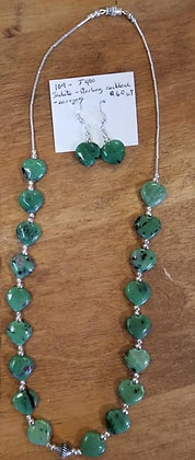Jadite & Sterling Necklace & Earrings Set