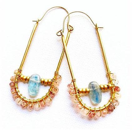 Beaded Hoop Crystal Earrings